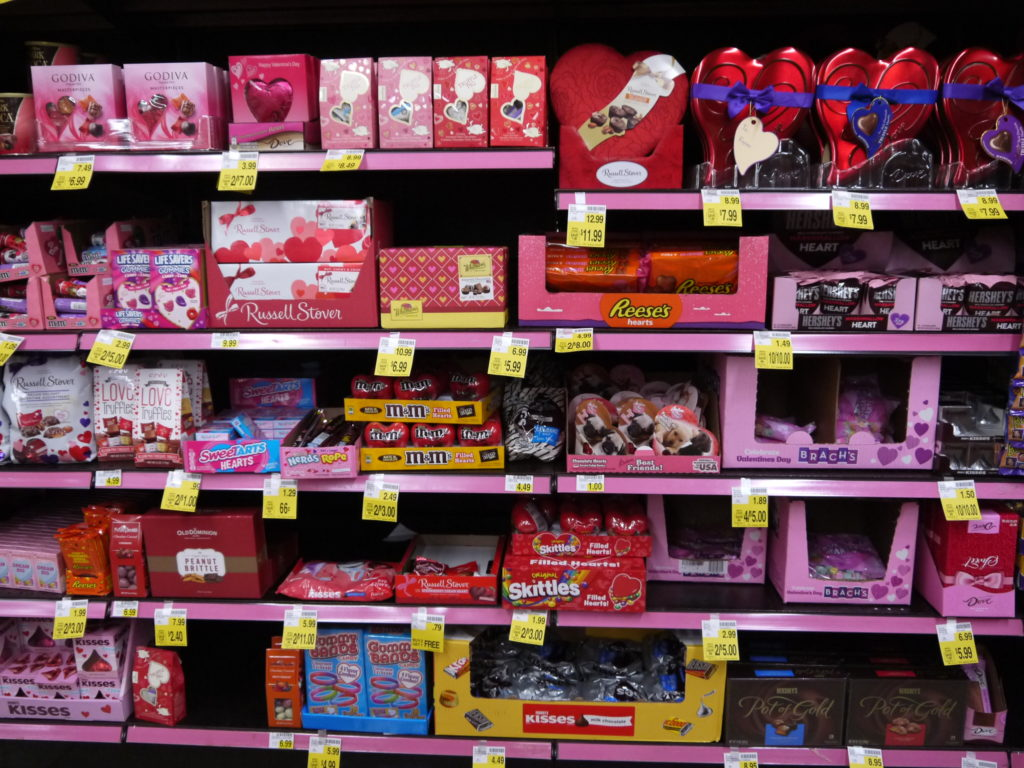 Valentine chocolate shelf