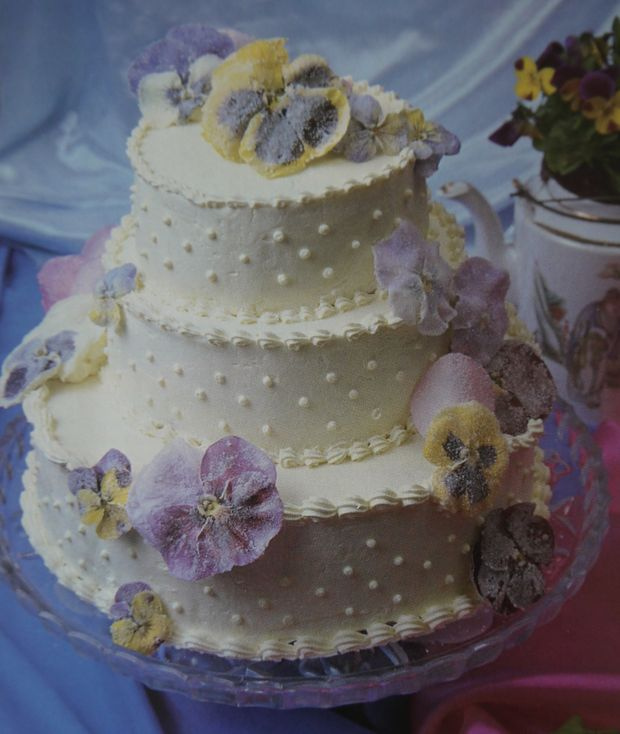 cake with crystallized flowers