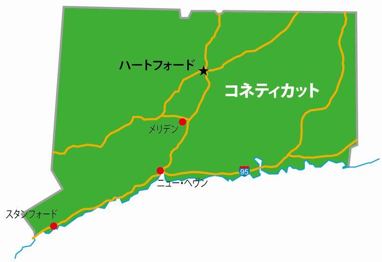 コネチカットの地図