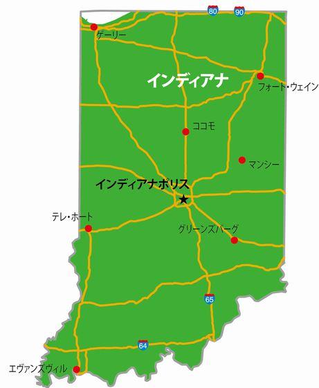 インディアナ州の地図