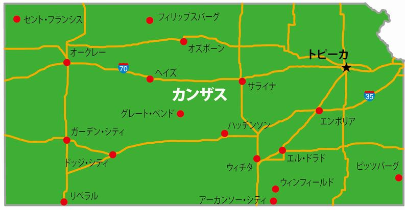 カンザス州の地図