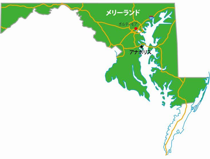 メリーランド州の地図