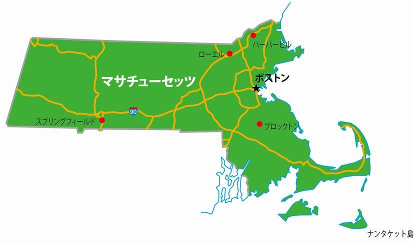 マサチューセッツ州の地図