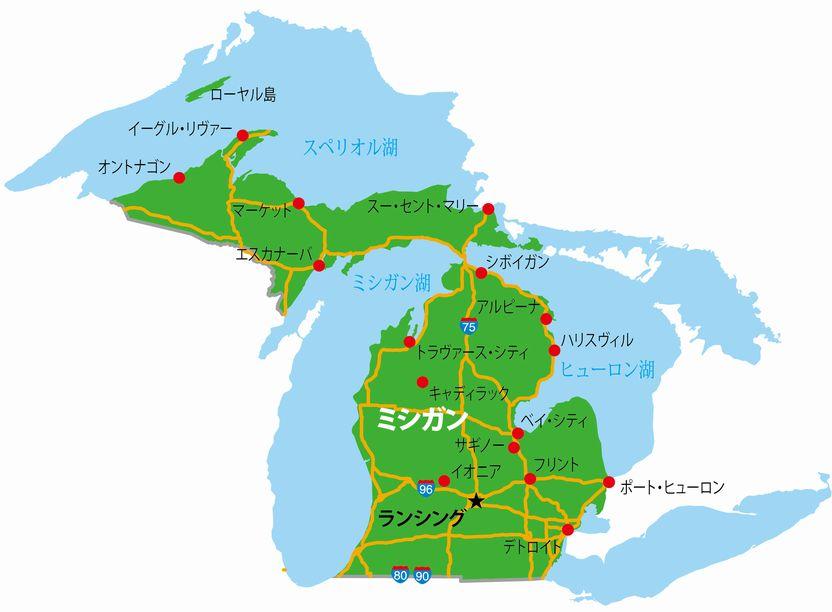 ミシガン州の地図