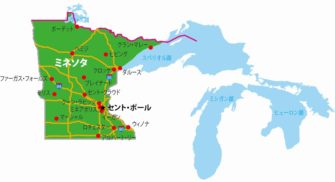ミネソタ州の地図